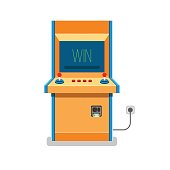 Old Arcade machine vector illustration. Flat retro game machine.