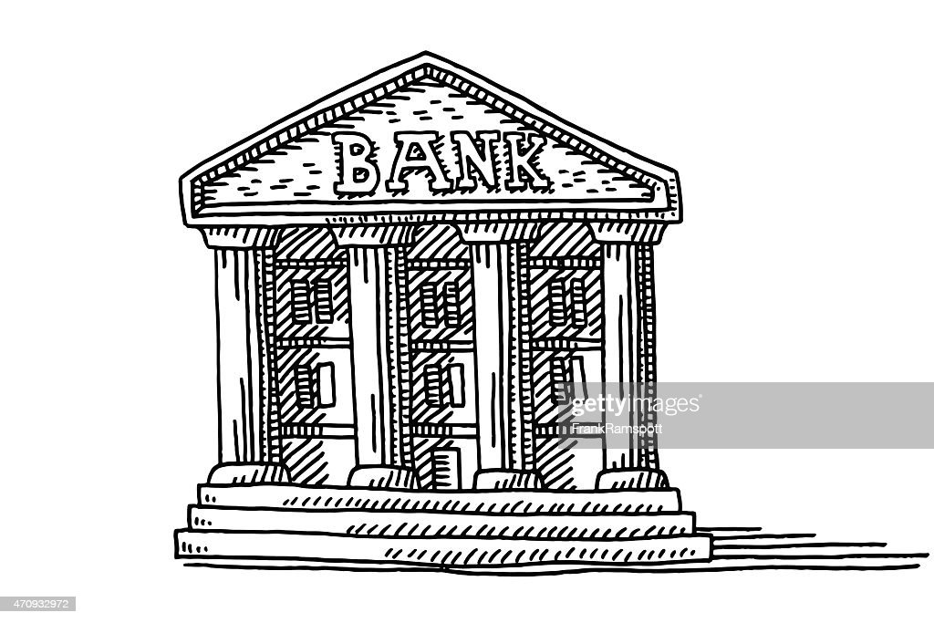 Bank Protection Drawing : Old bank building symbol drawing vector art getty images