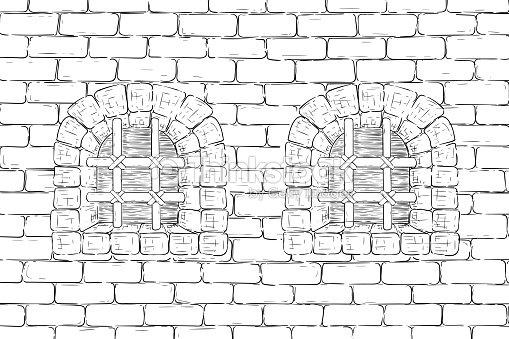 Muro De Ladrillo Con Ventanas Enrejadas Bosquejo De Dibujo