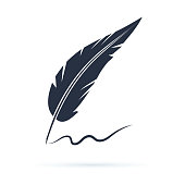 Old calligraphy vector icon illustration isolated on white background. Writing with old quill pen. Historical atmosphere. Calligraphic black feather icon. Handwriting sign for signature or lettering