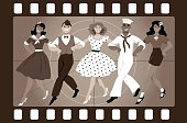 A chorus line of male and female performers dressed in vintage fashion dancing a routine in an old movie frame, EPS 8 vector illustration