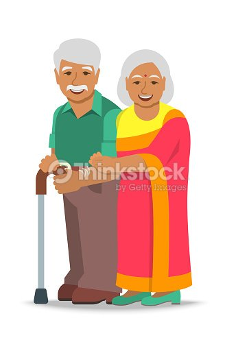 cd1bd162a2 Old Couple Indian Man And Woman Standing Together stock vector ...