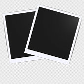 Old empty realistic photo card frame mockup design with transparent shadow on plaid black white background. Make it with gradient mesh tool. Polaroid border to family album. Vector illustration EPS 10