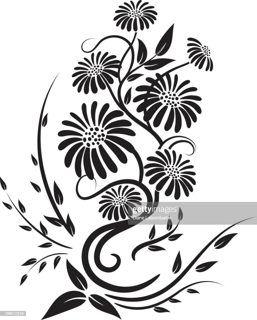 Old fashioned black calligraphic floral element vector art