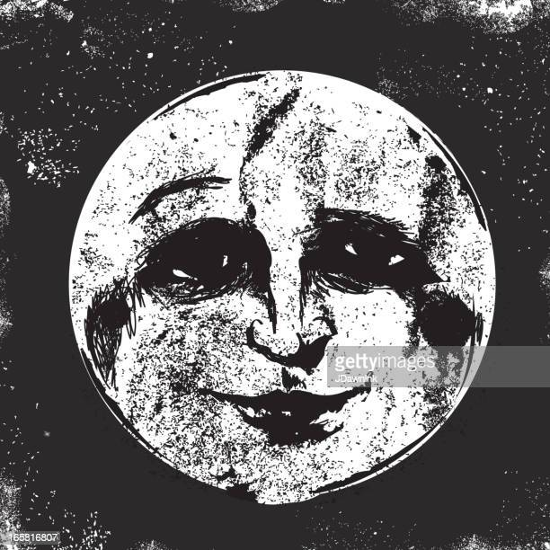 Old fashioned man in the moon face