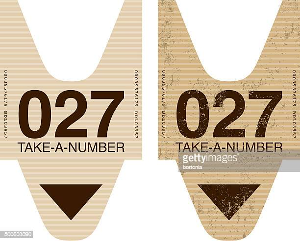 Old Fashioned Take A Number Ticket Stub Icon