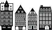 Old German houses set, vector illustration