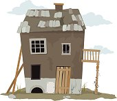 Small, run down, shanty house, vector illustration, ESP 8, no transparencies