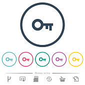 Old key flat color icons in round outlines. 6 bonus icons included.