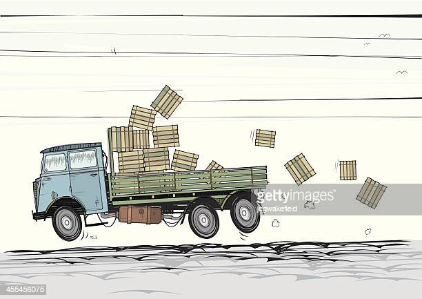 Old Lorry with Tumbling Crates