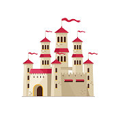Flat design of beautiful castle from fairytale with flying flags on white background.
