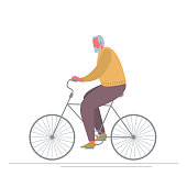 Old man is riding a bike. Concept of healthy lifestyle. People icon. Funky flat style. Vector illustration on a white background
