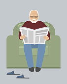 Old man is sitting in an armchair and reading a newspaper. There are also room slippers in the picture. Vector illustration