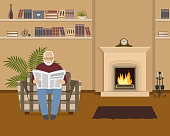 Old man is sitting in an armchair and reading a newspaper. Beige living room with fireplace. The room also has a shelves with books and home decor, a mantel clock and big flower. Vector illustration