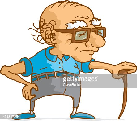 old man leaning on wood cane vector art | thinkstock