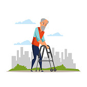 Old man using walkers flat vector illustration. Bald pensioner with gray beard cartoon character. Sad grandfather walking alone, senior on outdoor stroll in park. Retirement life, aging