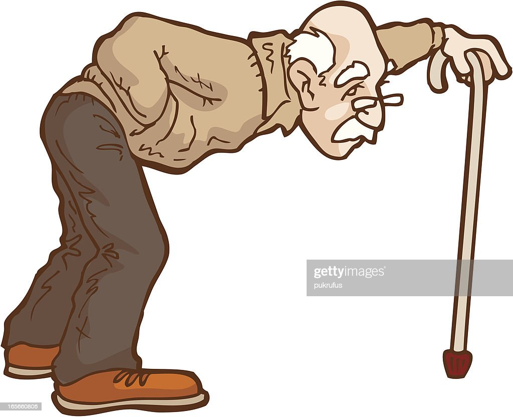 Old Man With Walking Frame Cartoon Vector Art Getty Images - 612x497 ... Old Man Walking Cartoon