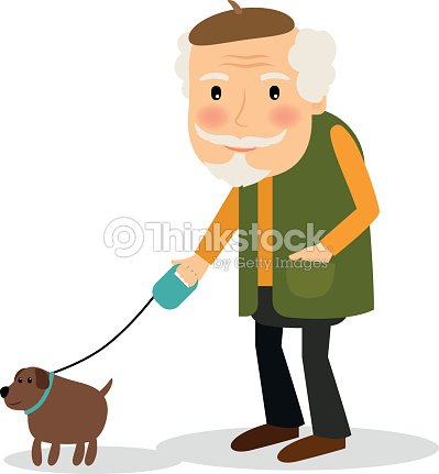 Old Man Walking With Dog Vector Art | Thinkstock