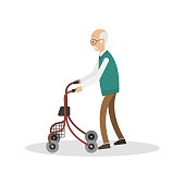 Old man walking with his walker/wheelchair, isolated on a white background. Vector illustration.