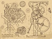 Retro mechanisms and machines in steampunk style on textured background. Hand drawn graphic illustration, sketch tattoo, retro technology collection with cogs, gear and wheels