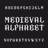 Old medieval alphabet vector font. Distressed type letters on a dark background. Vintage vector typeface for labels, headlines, posters etc.