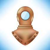 Old Metal Diving Helmet Isolated on Blue Background
