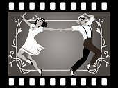 Young couple in retro attire dancing in an old movie frame, EPS 8 vector illustration, no transparencies