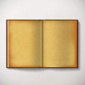 Old open antique book with open blank sheets isolated on white background. Stock vector illustration.