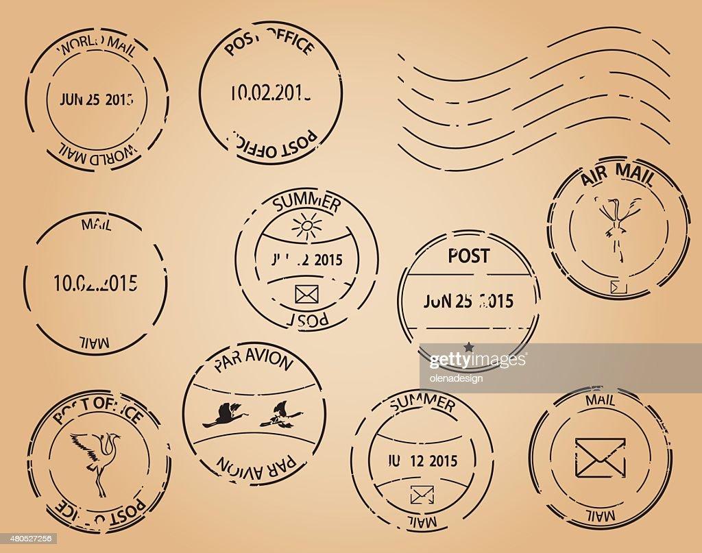 old postage stamps - vector black elements : Vector Art