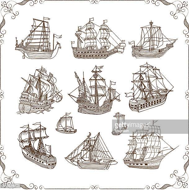 Old Sailing Ships Doodles Set