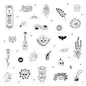 Old school hipster black tattoo vector big set. Part two.
