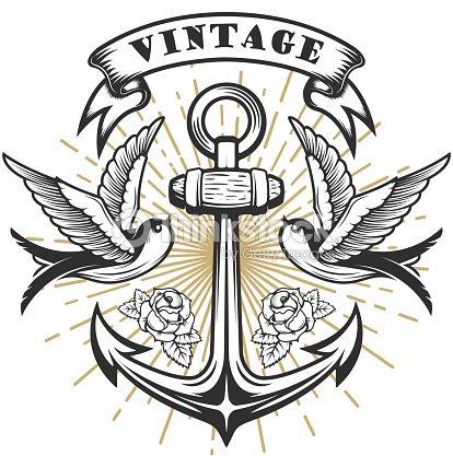 old school hirondelle illustration de style avec lancre illustration de style tatouage clipart. Black Bedroom Furniture Sets. Home Design Ideas