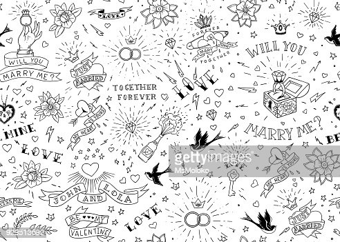 Old school tattoos seamles pattern with birds, flowers, roses and hearts. Love and wedding theme. Black and white traditional tattoo design. Vector illustration : Arte vettoriale