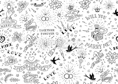 Old school tattoos seamles pattern with birds, flowers, roses and hearts. Love and wedding theme. Black and white traditional tattoo design. Vector illustration : stock vector