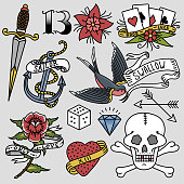 Old school vintage retro tattoo ink art style hand drawn tattooing symbol traditional graphic drawing vector illustration. Hipster classic decorative print.