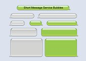 Vector illustration of old generation short message service bubbles green and gray