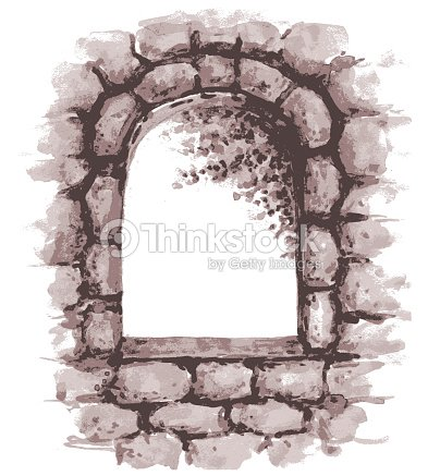 Old Stone Wall With Window Vector Art
