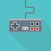 Classic flat style vector illustration of rectangular joystick like gamepad with analog buttons and stick with wire.