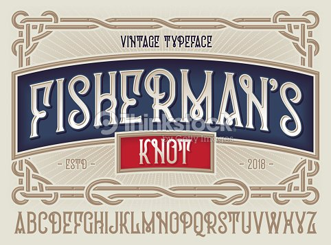 """Old style typeface """"Fisherman's Knot"""" with beautiful decorative vintage frame ornate. : stock vector"""