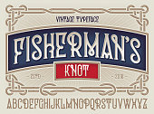 Old style typeface 'Fisherman's Knot' with beautiful decorative vintage frame ornate.