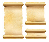 Set of old textured papyrus scrolls different shapes isolated on white