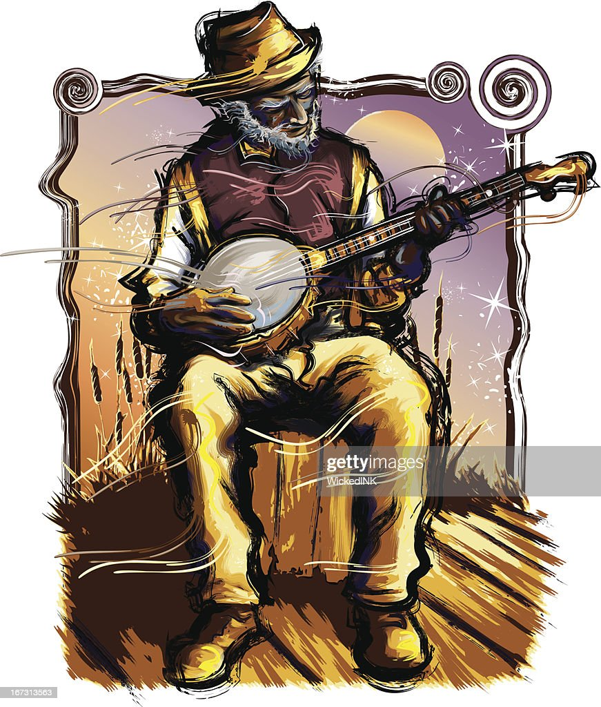 Old Time Music - Banjo Player : Vector Art