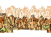 Hand drawn sketch of cartoon old town. Made in vintage style. Seamless pattern of funny houses.