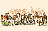Hand drawn sketch of cartoon old town. Made in vintage style.