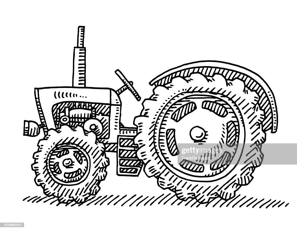 Tractor Steering Wheel Clip Art : Old tractor agricultural vehicle drawing vector art