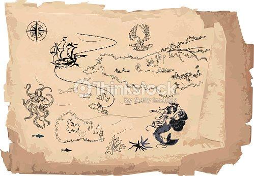 Old Treasure Map Vector Art