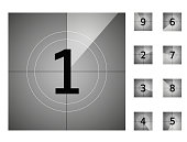 old vintage film countdown retro down counter vector protector numbers animation