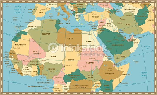 Old Vintage Map Of Northern Africa And The Middle East Vector Art ...