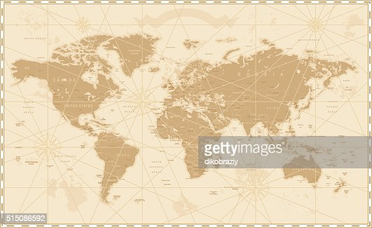 Old Vintage Retro World Map : Vector Art
