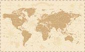 Old World Map - Vector Illustration   Source map references:  hhttp://www.lib.utexas.edu/maps/world_maps/time_zones_ref_2011.pdf http://www.lib.utexas.edu/maps/world_maps/txu-oclc-264266980-world_pol
